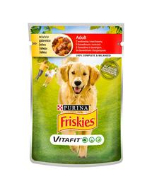 FRISKIES Vitafit Adult hrana umeda pentru caini adulti cu carne de vita si morcov 20x100g