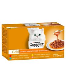 GOURMET Gold Sauce Delights Hrana umeda cu arome mixte in sos pentru pisici adulte 4x85g