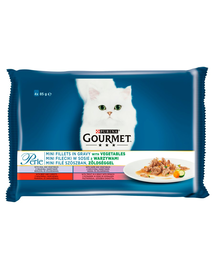 GOURMET Perle Mini Hrana umeda cu carne si legume pentru pisici adulte 4x85g