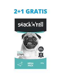 SNACK & ROLL Duck Strips recompense pentru caini, cu rata 3x200 g 2+1 GRATIS