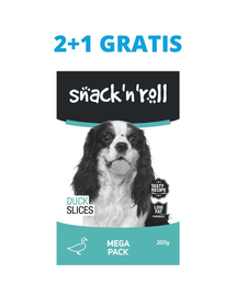 SNACK & ROLL Duck Slices recompense pentru caini, felii de rata 3x200 g 2+1 GRATIS