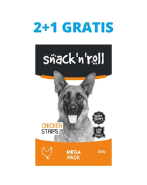 SNACK & ROLL Chicken Strips recompense pentru caini, fasii de pui 3x200 g 2+1 GRATIS