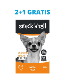 SNACK & ROLL Chicken Breast Fillet Filet recompense pentru caini, file din piept de pui 3x200 g 2+1 GRATIS