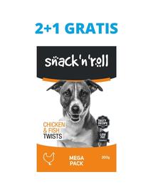 SNACK & ROLL Chicken and Fish Twists recompense pentru caini, cu pui si peste 3x200 g 2+1 GRATIS