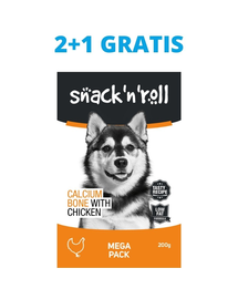 SNACK & ROLL Calcium Bone with Chicken recompense pentru caini, oase cu pui si calciu 3x200 g 2+1 GRATIS