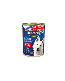 BUTCHER'S Natural&Healthy Hrana umeda pentru caini, pate cu vita si orez 10x390g + frisbee GRATIS