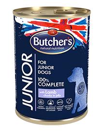 BUTCHER'S Functional Dog Hrana umeda cu bucati de miel in aspic pentru caini junior 10x400g + frisbee GRATIS
