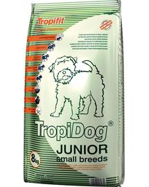 TROPIDOG Super Premium Junior S somon si oua 8 kg hrana uscata pentru pui de rasa mica miel, somon si oua