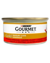 GOURMET Gold Savoury Cake Hrana umeda cu carne de vita si rosii pentru pisci adulte 85 g