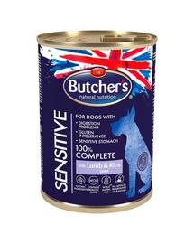 BUTCHER'S Functional Dog Sensitive Hrana umeda cu miel si orez pentru caini 10x390g + frisbee GRATIS