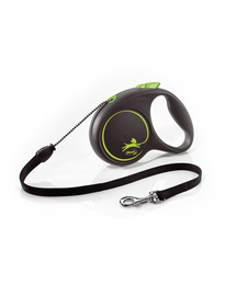 FLEXI Black Design lesa automata cu banda pentru caini, negru cu verde, marimea M, 5 m