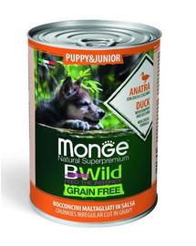 MONGE BWild GrainFree Puppy hrană umedă pentru cățeluși, cu rață 400 g