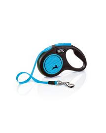 FLEXI New Neon lesa automata pentru caini, albastru, marimea S, 5 m