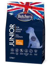 BUTCHER'S Functional Junior Dog hrana uscata caini juniori, pui si miel 2,5kg