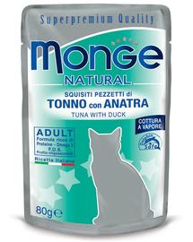 MONGE hrană umedă pentru pisici, cu ton și rață 80 g
