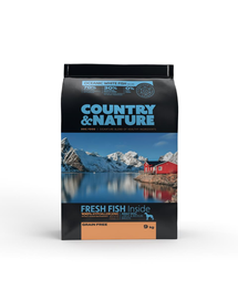 DR PETCARE Country&Nature Ocean White Fish Recipe Hrana uscata caini adulti talie medie/mare, cu peste 9 kg