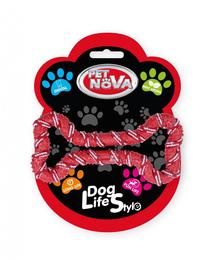PET NOVA DOG LIFE STYLE Coarda sub forma de os pentru caine 20 cm, rosu, aroma de menta