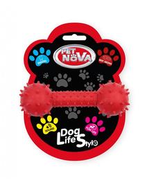 PET NOVA DOG LIFE STYLE Jucarie os cu clopotel pentru caini 14cm, rosu, aroma de carne de vita