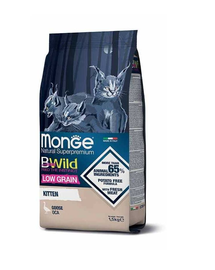 MONGE BWild Cat Kitten hrană uscată pentru pisoi, cu gâscă 1,5 kg