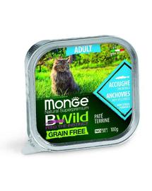 MONGE Bwild Cat Adult hrană umedă pentru pisici, cu anșoa 100g