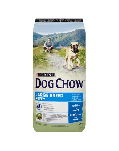 Purina Dog Chow Puppy Large Breed hrana uscata caini juniori de talie mare, curcan 14 kg