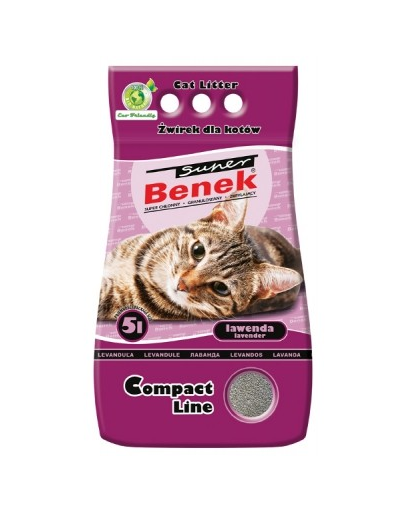 Benek Super Compact nisip pentru litiera, cu lavanda 5 L