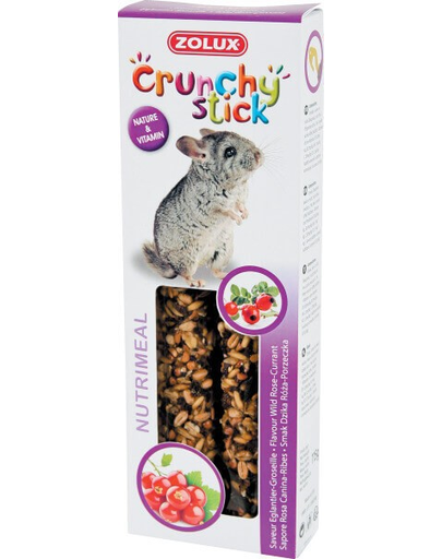 ZOLUX Crunchy Stick pentru chinchilla - măceșe / coacăze 115 g