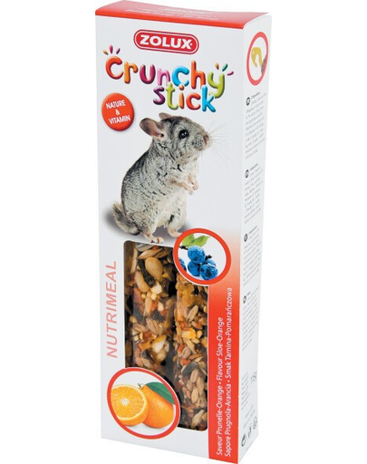 ZOLUX Crunchy Stick pentru chinchilla - coacăze / portocale 115 g fera.ro