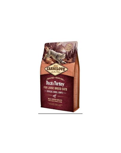 CARNILOVE Hrana uscata pentru pisici Cat Large Breed cu Rata si Curcan 2 kg