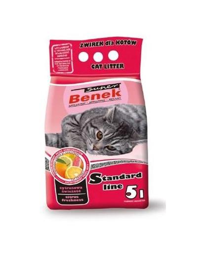 BENEK Super Standard Citrus Freshness nisip pentru litiera, miros citric 5 L