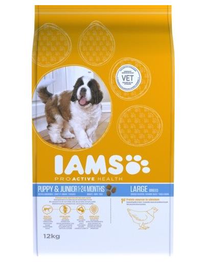 IAMS ProActive Health Puppy & Junior Large Breed cu carne de pui 12 kg