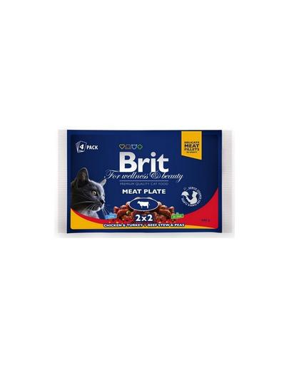 BRIT Pachet Cat Adult meat plate 4x100 g