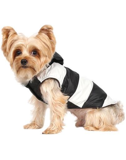 Doggy Dolly Geacă cu glugă de blană, negru/alb, XL 33-35 cm/51-53 cm fera.ro