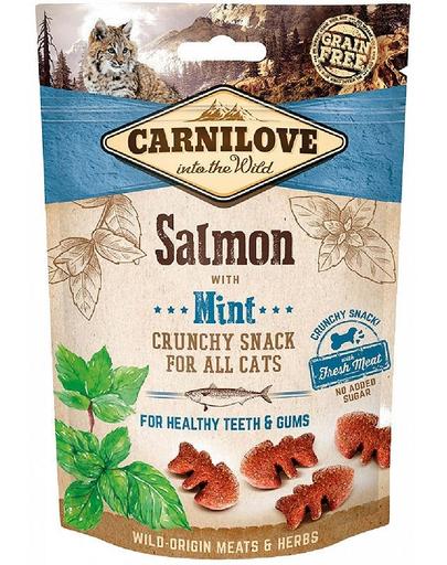 CARNILOVE Crunchy Snacks recompense crocante pentru pisici, cu somon si menta 50 g fera.ro