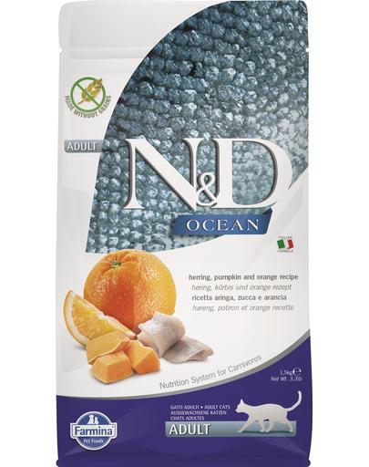 FARMINA N&D Ocean Adult cu hering, dovleac și portocale 1,5 kg fera.ro