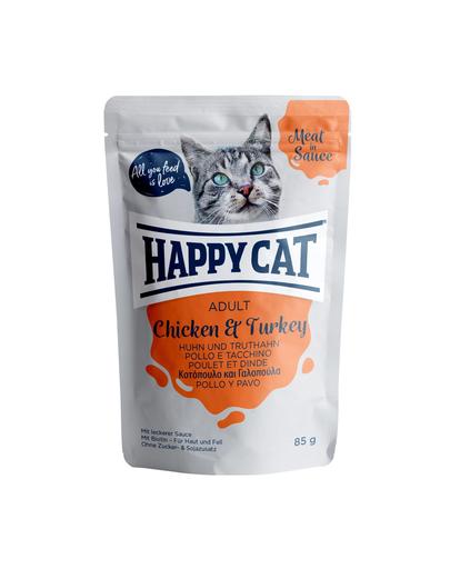 HAPPY CAT Meat in sauce Adult, pui și curcan 85 gr fera.ro