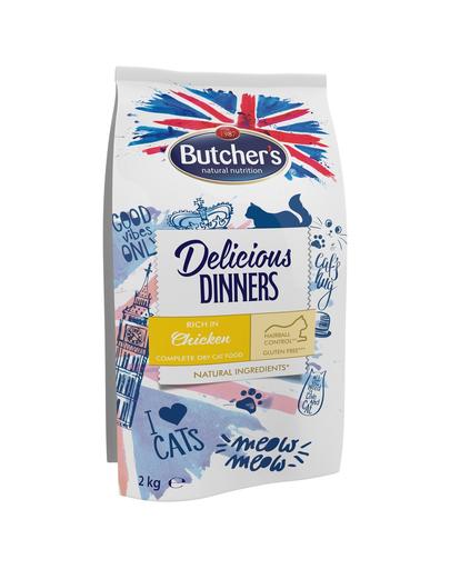BUTCHER'S Delicious Dinners Cat, hrană uscată cu pui 2 kg fera.ro