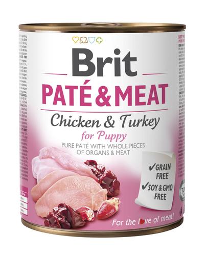 BRIT Pate & Meat Puppy Chicken&Turkey, cu pui și curcan 800 g fera.ro