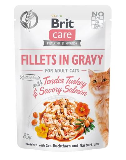 BRIT Care Cat Fillets in gravy, file de curcan și somon în sos 85 g fera.ro