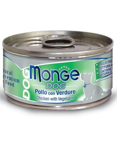 MONGE Natural Dog hrană umedă pentru câini, cu pui și legume 95g fera.ro