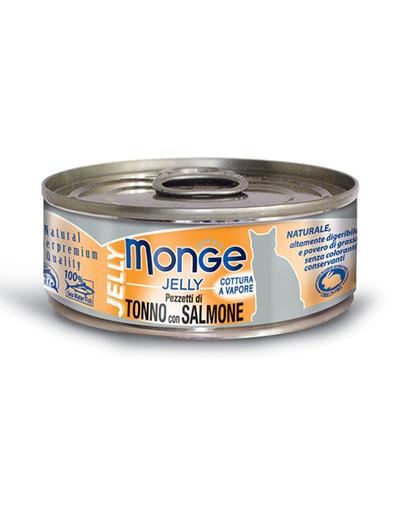 MONGE Jelly hrană umedă pentru pisici, cu ton și somon 80 g fera.ro