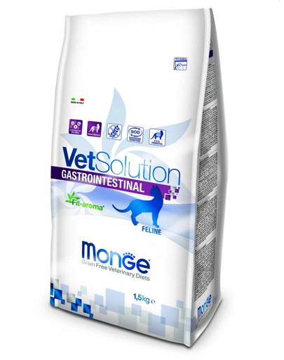 MONGE Vet Solution Cat Gastrointestinal hrană uscată dietetică pentru pisici cu probleme gastrointestinale 1,5 kg fera.ro