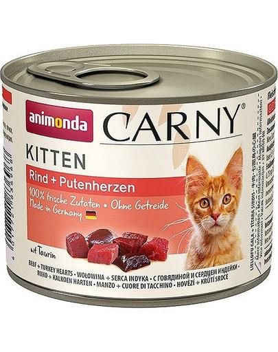 ANIMONDA Carny Kitten vită și inimi curcan 200 g