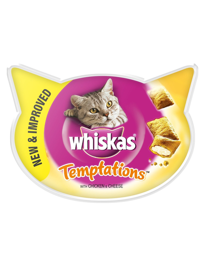 WHISKAS Hrană umedă pentru pisici Temptations pui brânză 60 g x 8