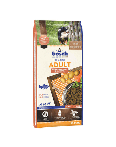 BOSCH Hrana uscata somon si cartofi pentru cainii adulti 30 kg (2 x 15 kg)