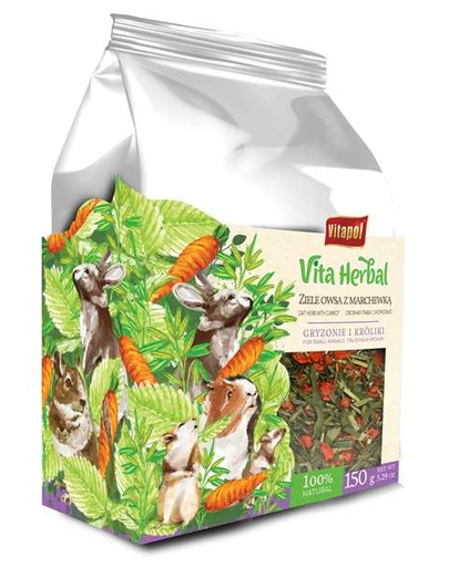 VITAPOL Vita Herbal Hrana supliment pentru rozatoare si iepuri, ovaz si morcov, 150 g fera.ro