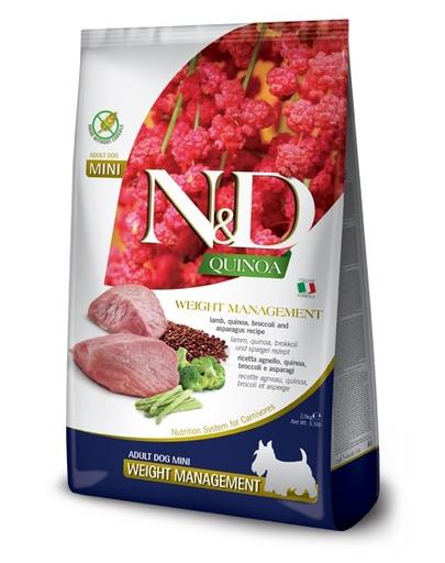 FARMINA N&D Quinoa Weight Management - Hrană dietetică pentru câini adulți - talie mică - gestionarea greutății - cu miel - 2.5 kg fera.ro