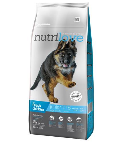 NUTRILOVE Premium cu pui proaspăt pentru câini juniori de talie mare - 12 kg fera.ro