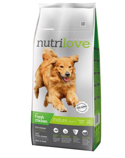 NUTRILOVE Premium hrana uscata pentru câini seniori 7+, cu pui 12 kg fera.ro