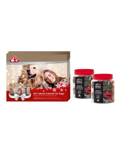 8in1 SET Calendar Advent cu recompense pentru caini + 2 x SIMPLY FROM NATURE Baked Cookies recompense caini cu merisoare 220 g fera.ro